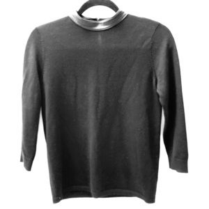 Club Monaco wool sweater with leather trim